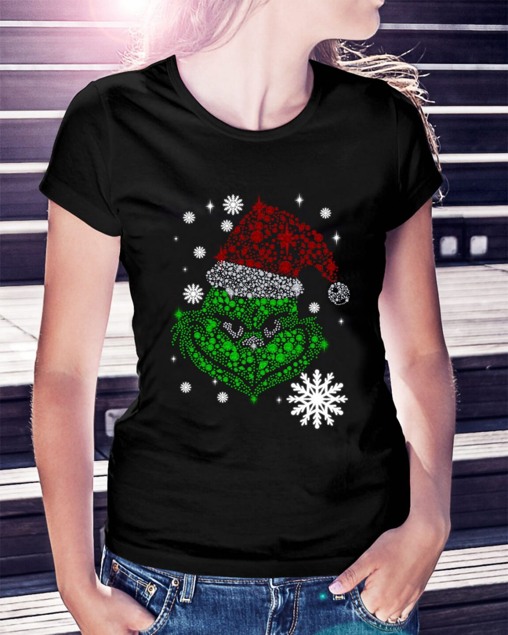 Grinch face rhinestone Diamond Christmas Ladies Tee