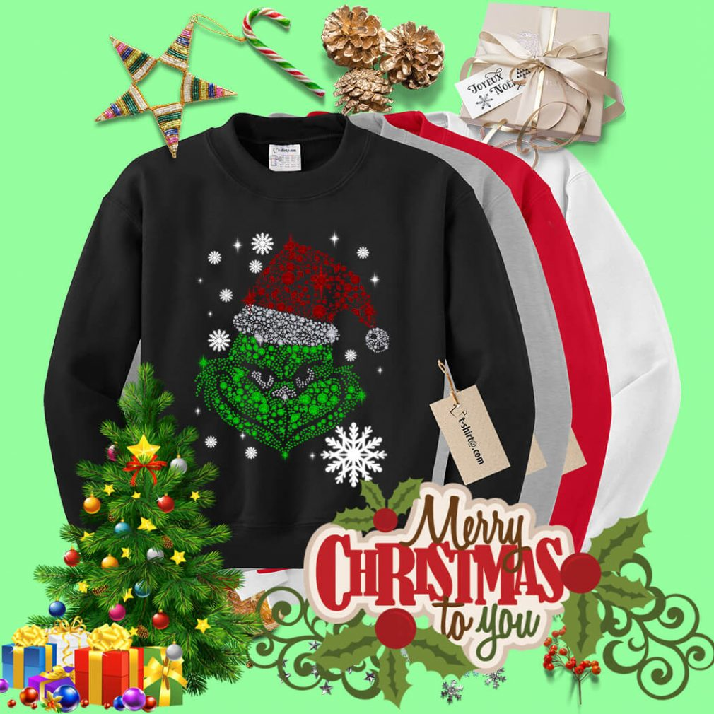 Grinch face rhinestone Diamond Christmas shirt, sweater
