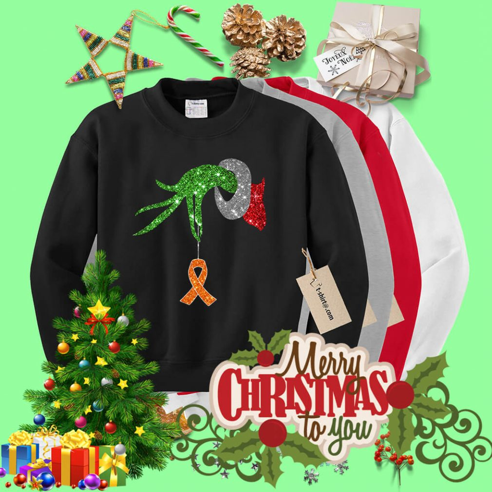 Grinch hand holding Breast Cancer shirt, sweater