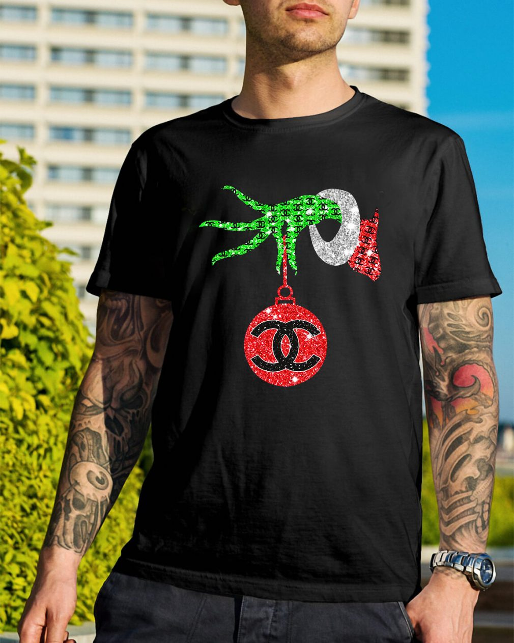 Grinch hand holding Channel Ornament Guys Shirt