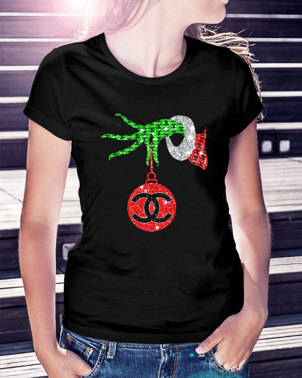Grinch hand holding Channel Ornament Ladies Tee