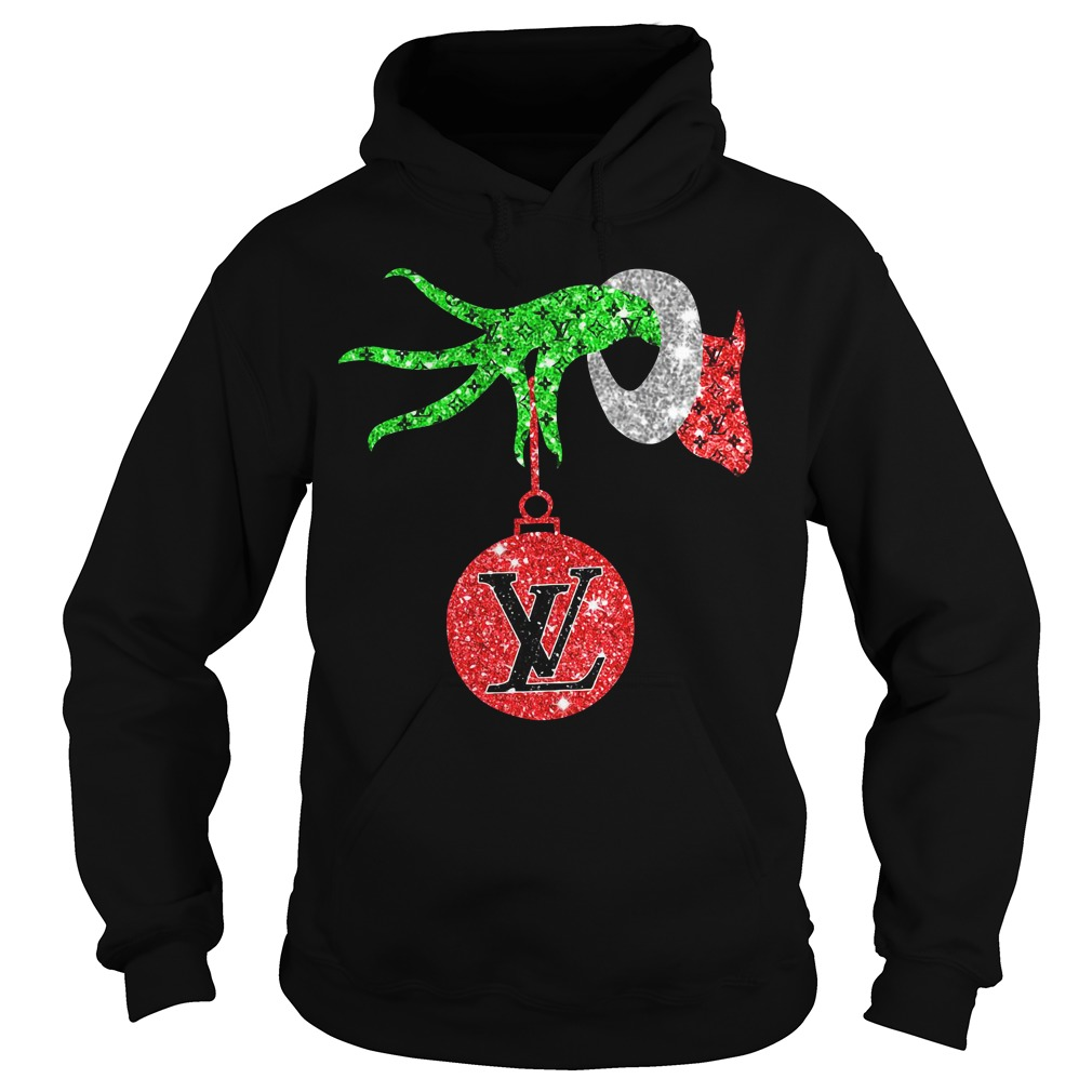 Grinch hand holding Louis Vuitton Ornament Hoodie