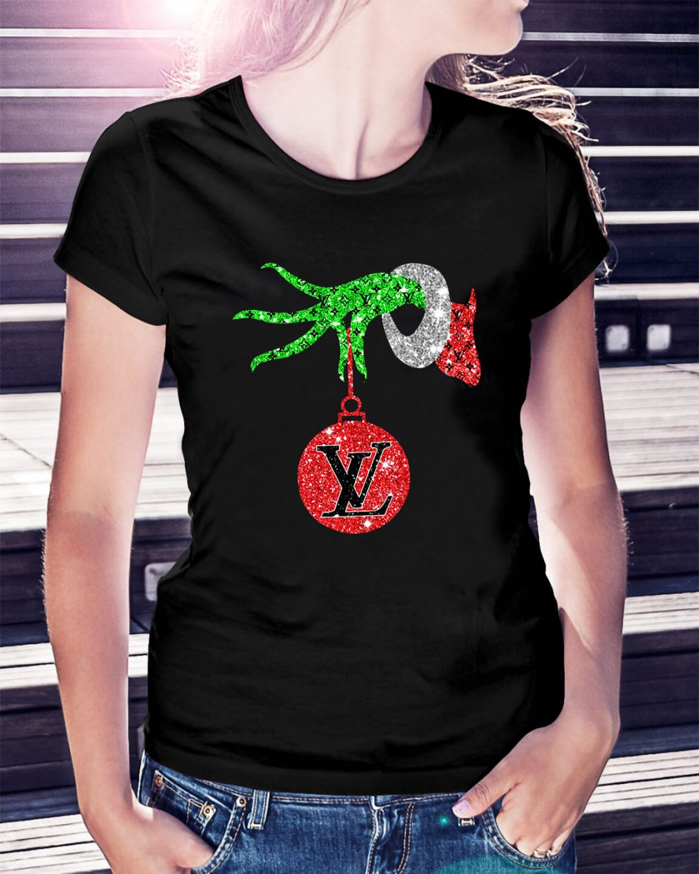 Grinch hand holding Louis Vuitton Ornament Ladies Tee