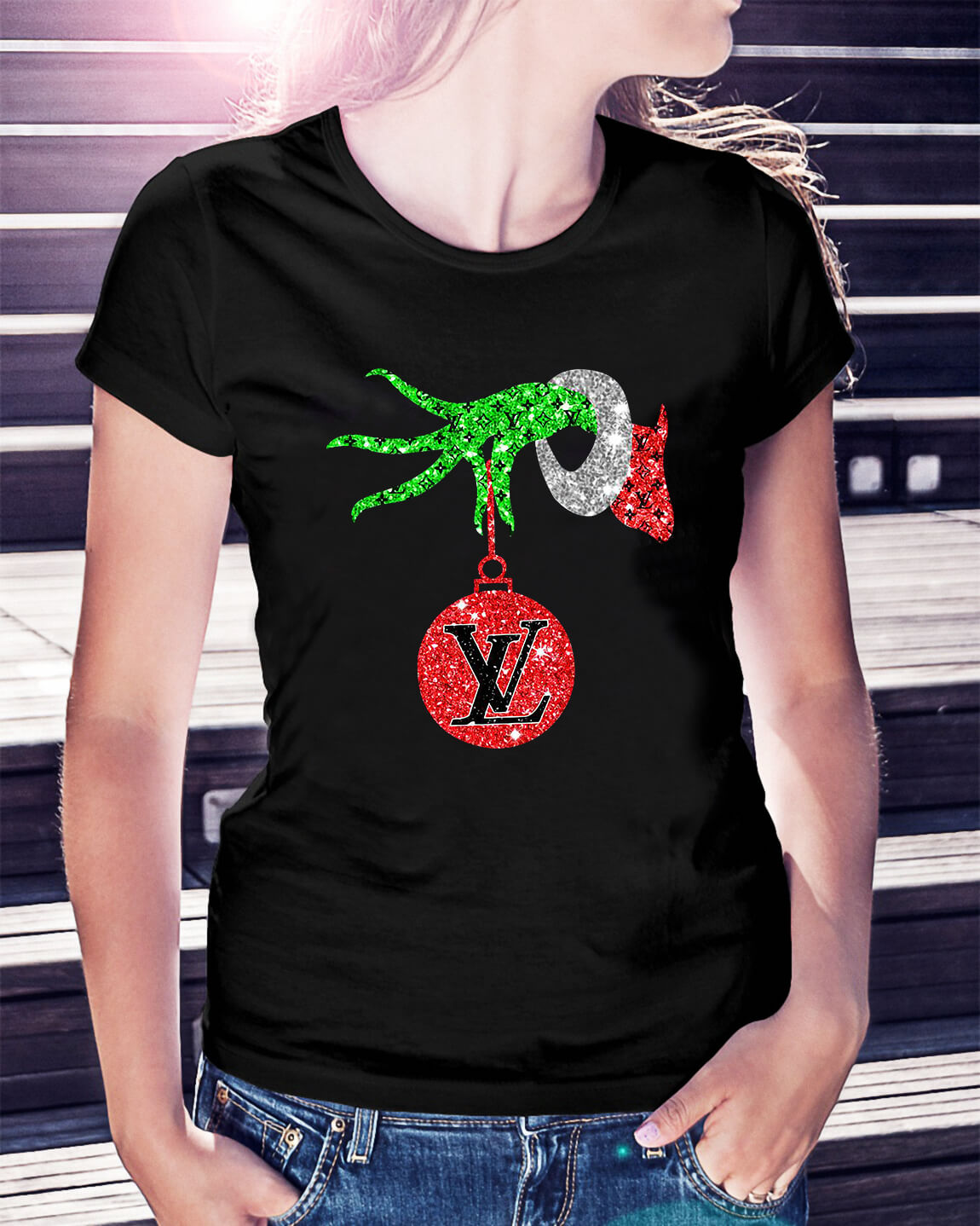 01263bf65ac6 Grinch hand holding Louis Vuitton Ornament Ladies Tee