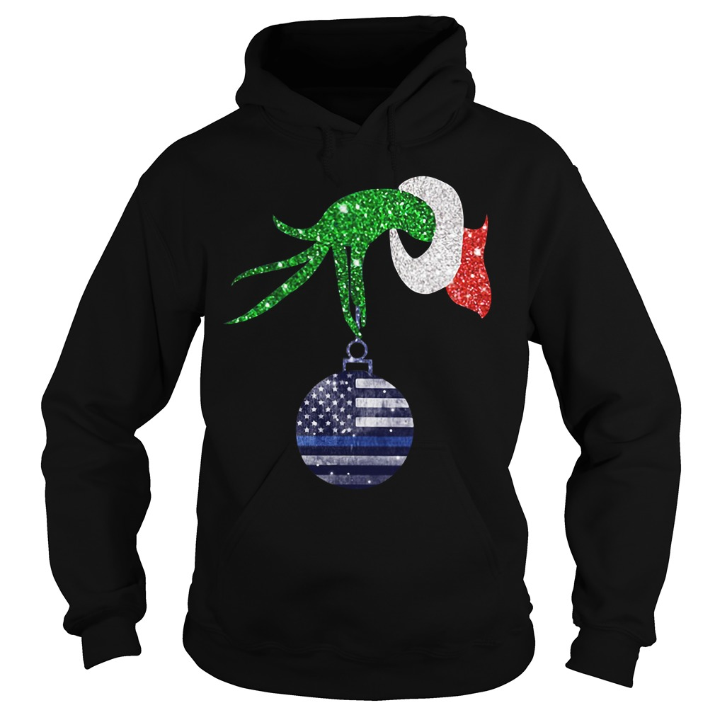 Grinch hand holding Ornament Police Christmas Hoodie