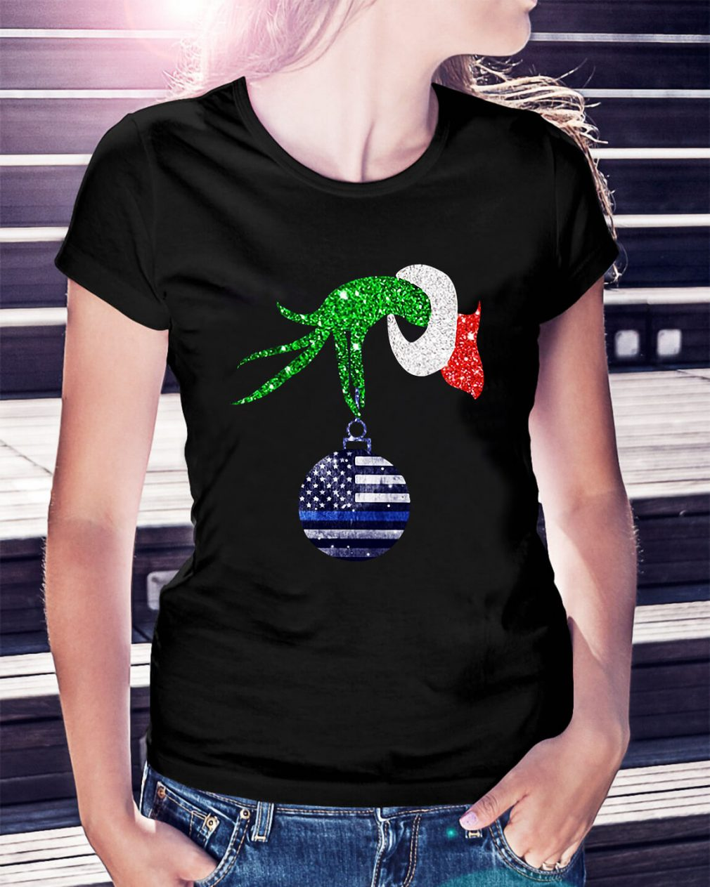 Grinch hand holding Ornament Police Christmas Ladies Tee