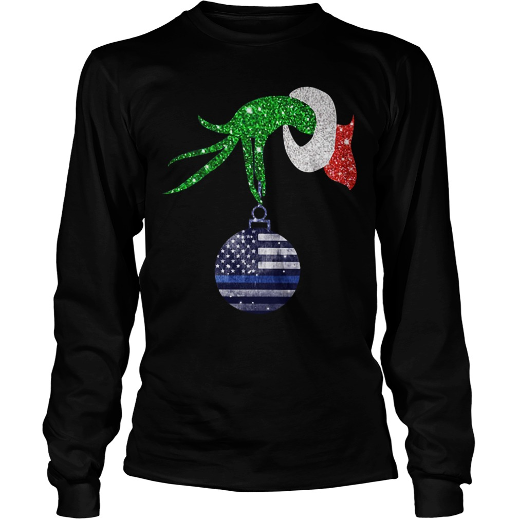 Grinch hand holding Ornament Police Christmas Longsleeve Tee