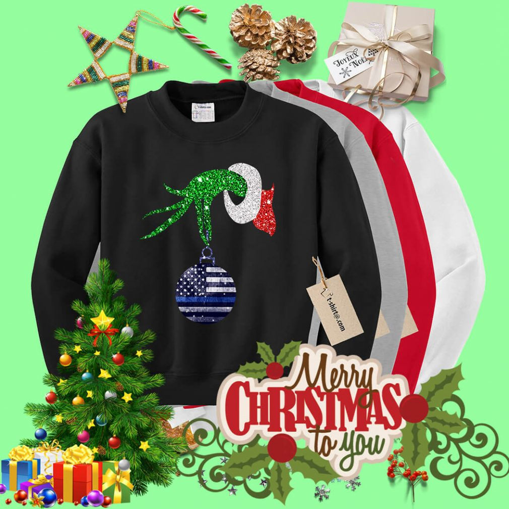 Grinch hand holding Ornament Police Christmas shirt, sweater
