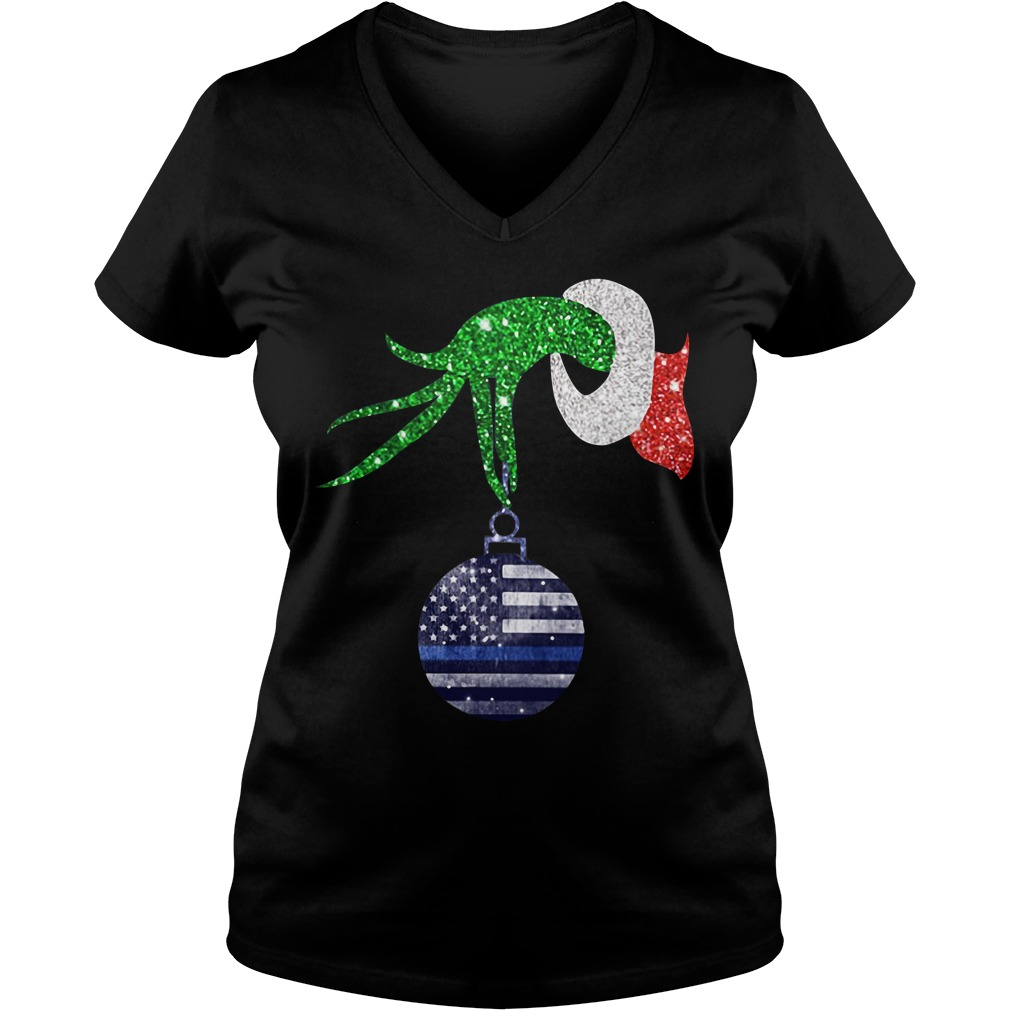 Grinch hand holding Ornament Police Christmas V-neck T-shirt