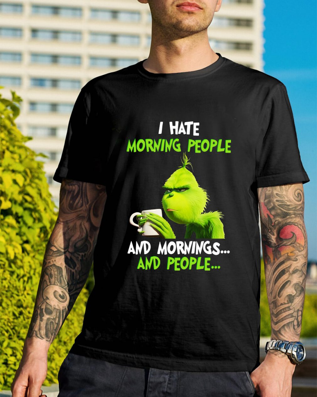 Grinch I hate morning people and mornings people Guys Shirt