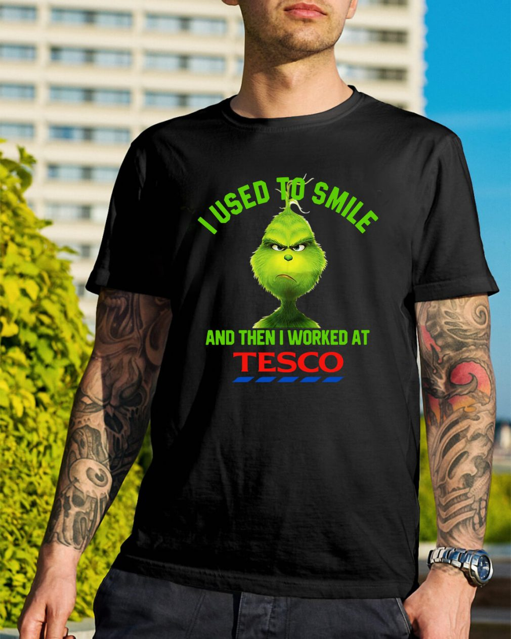 Grinch I used to smile and then I worked at Tesco Christmas Guys Shirt