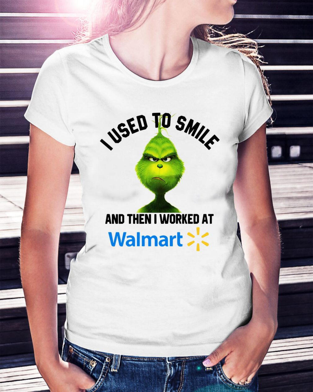 Grinch I used to smile and then I worked at Walmart Christmas Ladies Tee