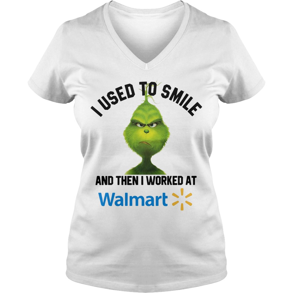 Grinch I used to smile and then I worked at Walmart Christmas V-neck T-shirt