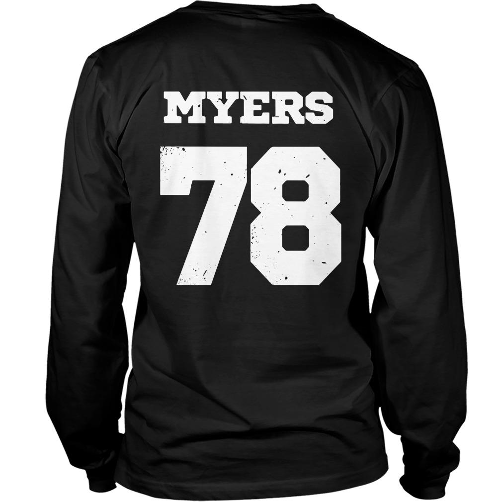 Haddonfield high school Jersey 78 Michael Myers Longsleeve Tee Front Mockup