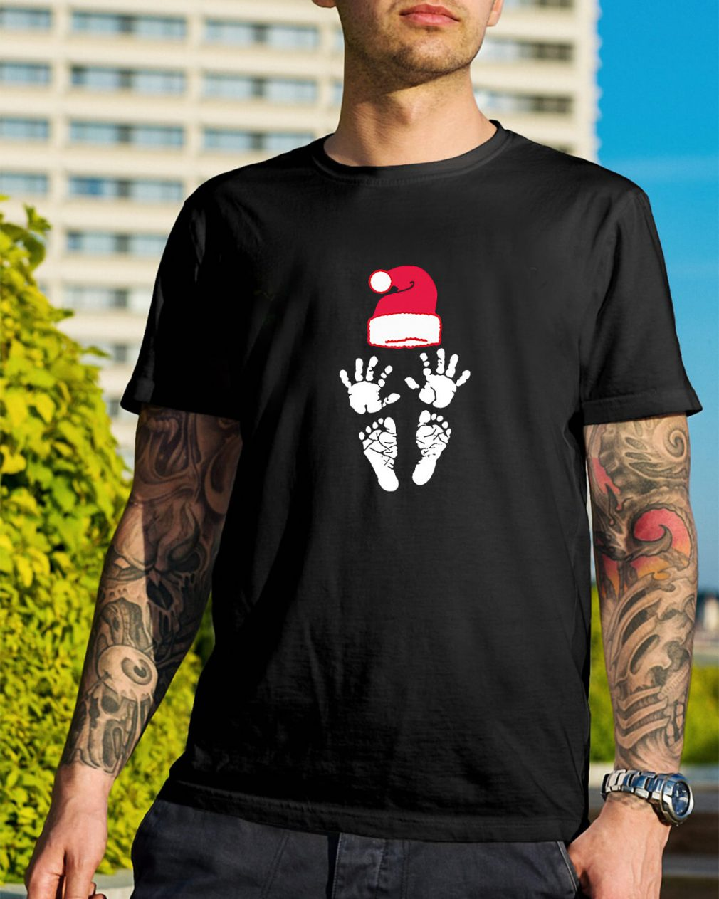 Hand foot prints Santa hat Guys Shirt