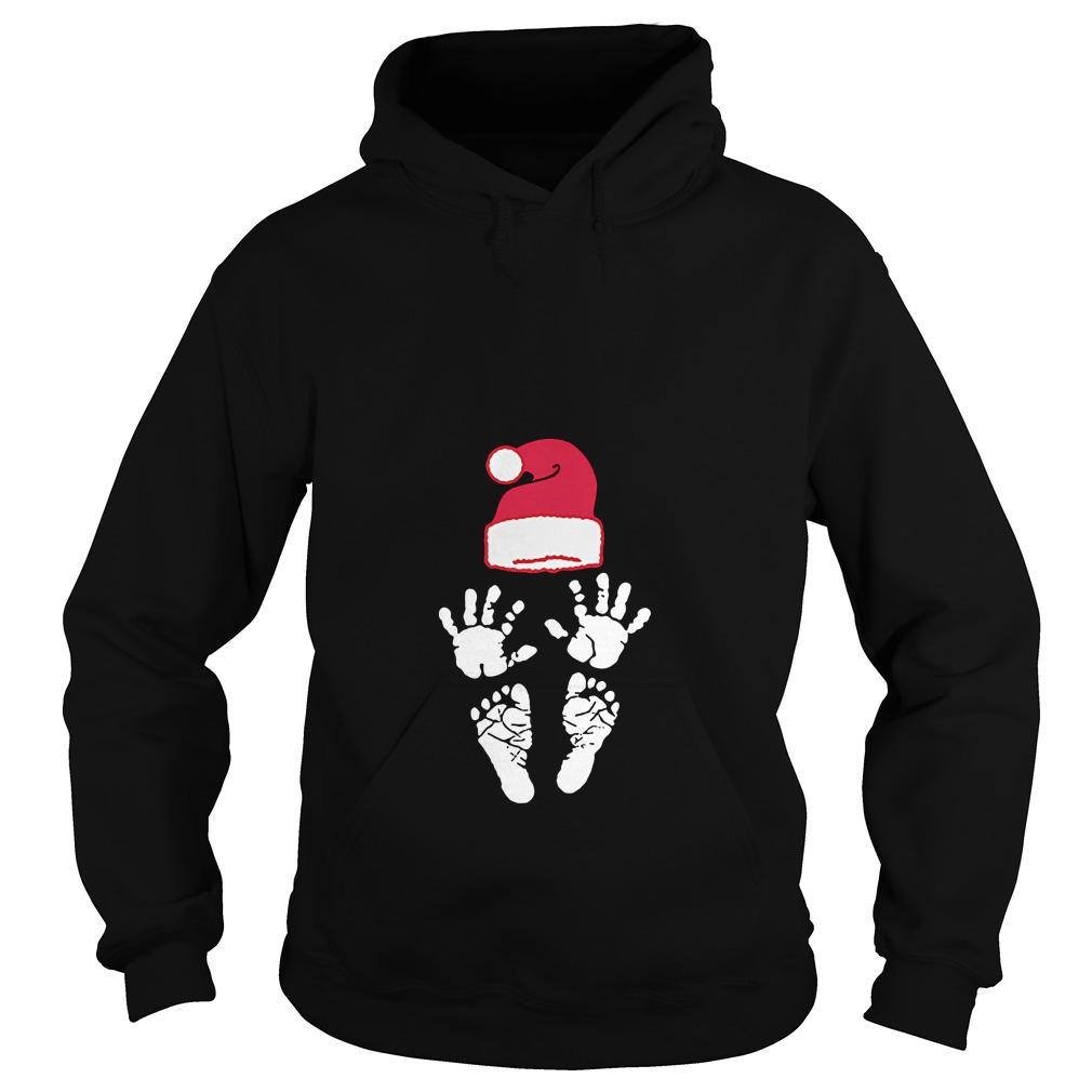 Hand foot prints Santa hat Hoodie