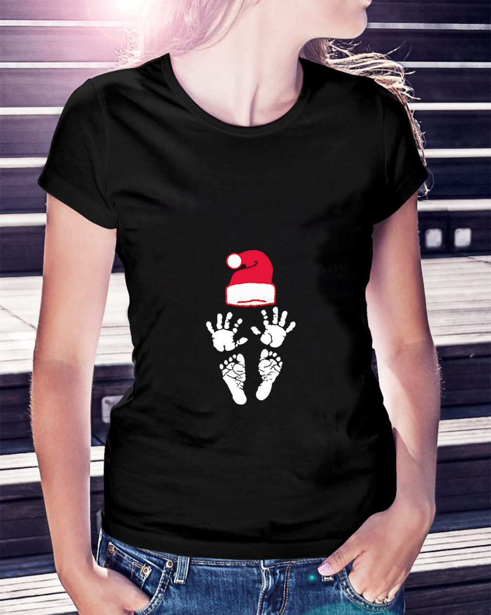 Hand foot prints Santa hat Ladies Tee