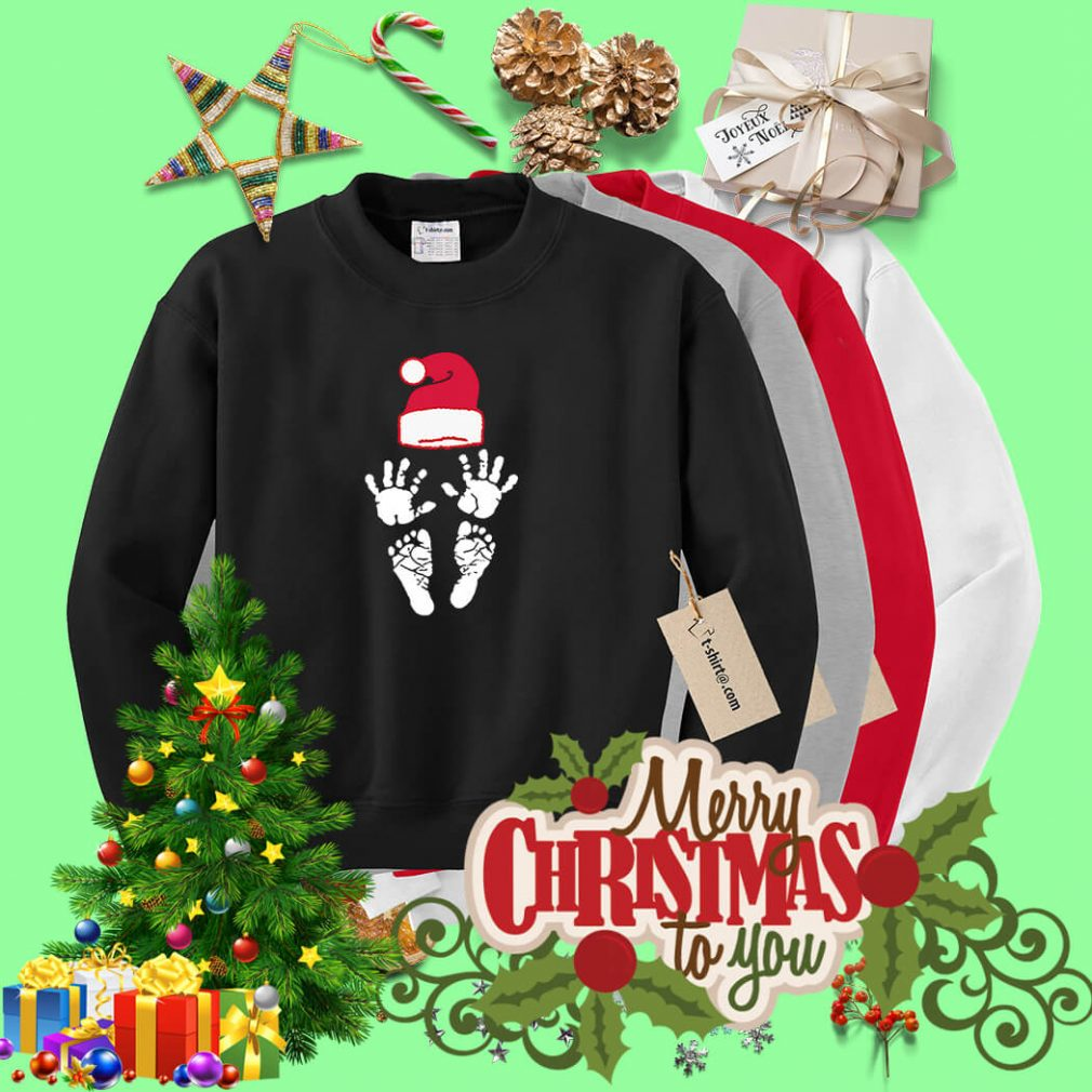 Hand foot prints Santa hat shirt, sweater