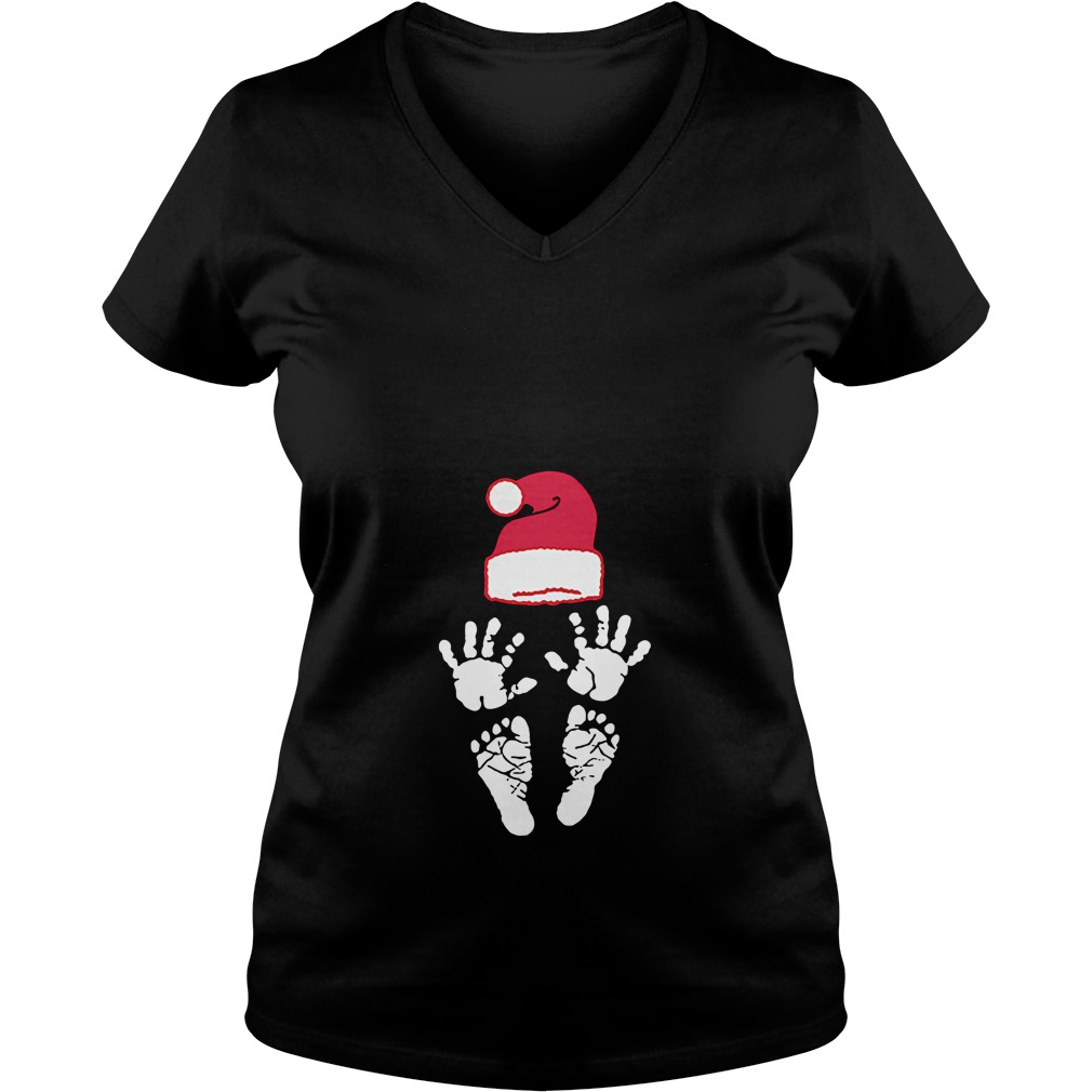 Hand foot prints Santa hat V-neck T-shirt