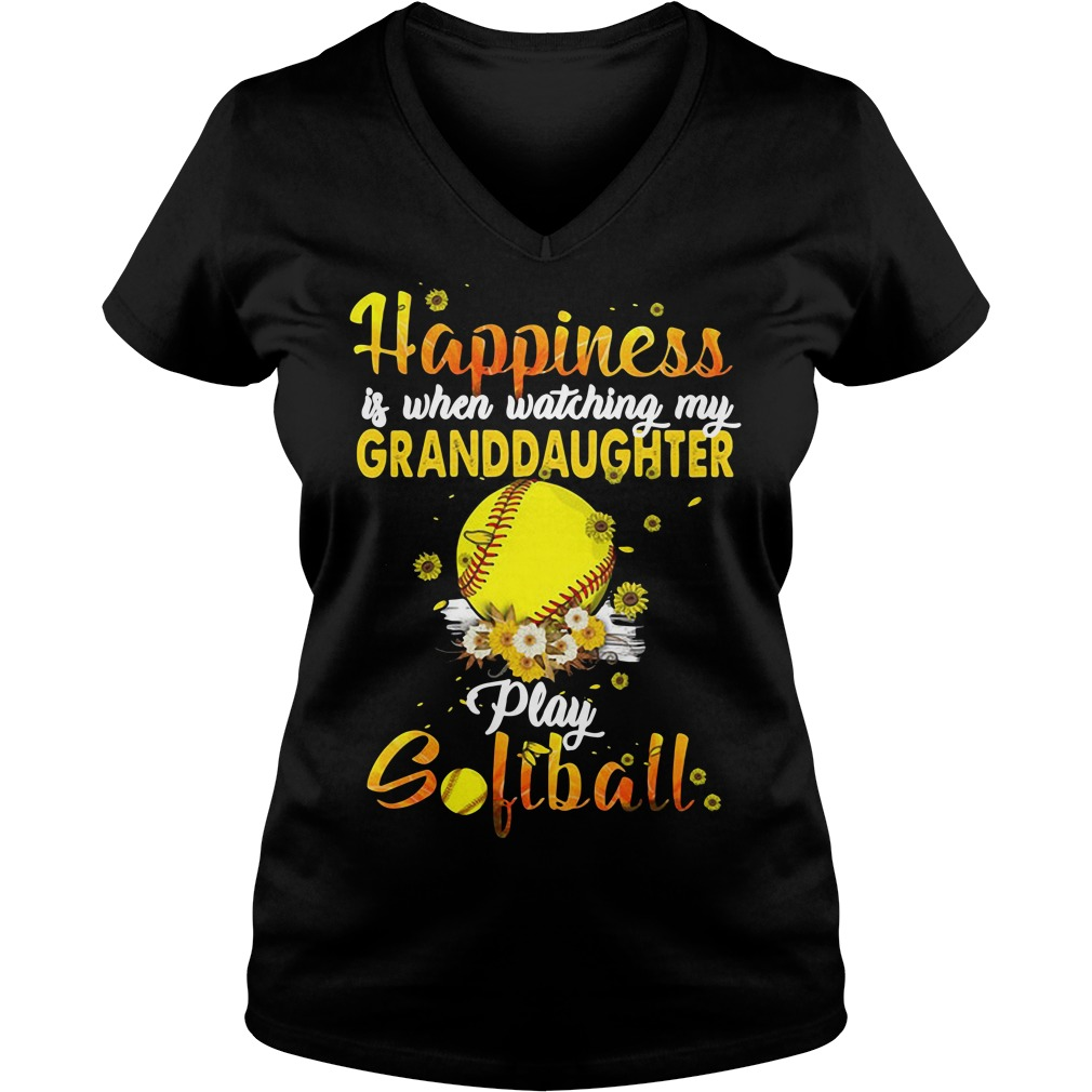 Happiness is when watching my granddaughter play softball V-neck T-shirt