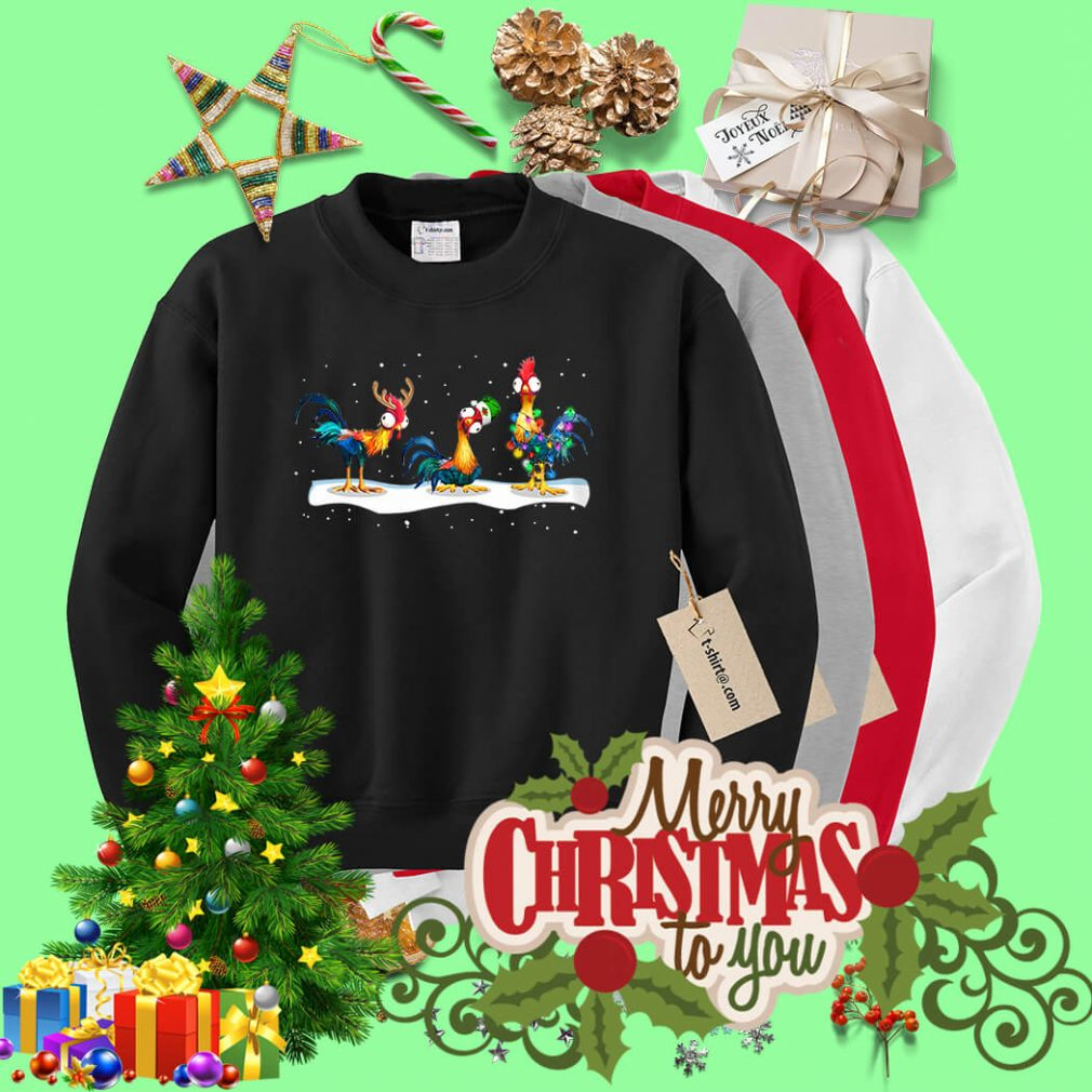 Hei Hei Reindeer Santa hat and Christmas light shirt, sweater