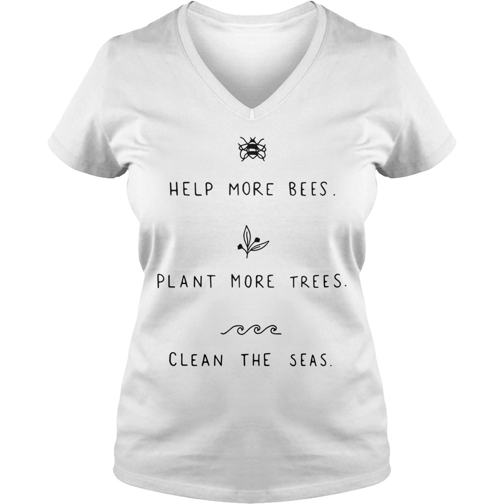 Help more bees plant more trees V-neck T-shirt