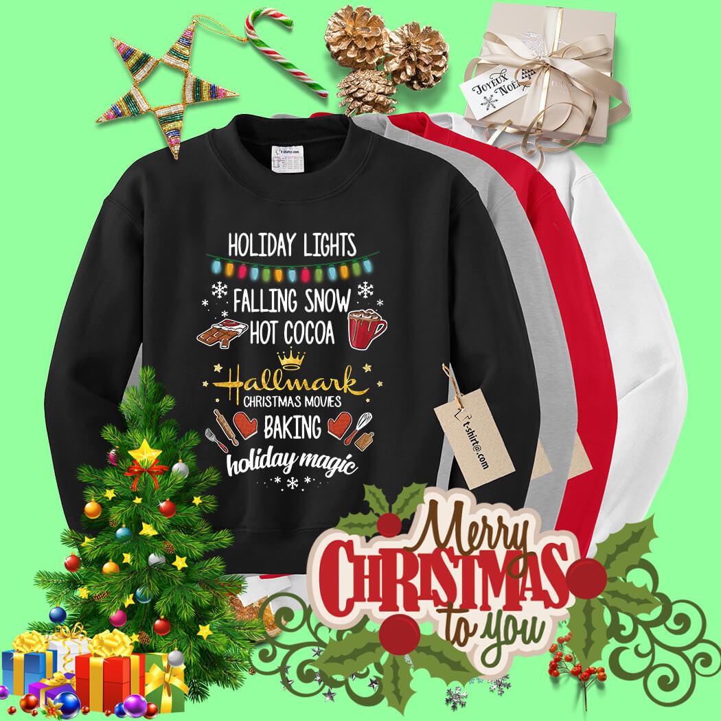 Watching Hallmark Movies Christmas Shirt Holiday Lights Falling Snow Hot Cocoa Hallmark Christmas Shirt