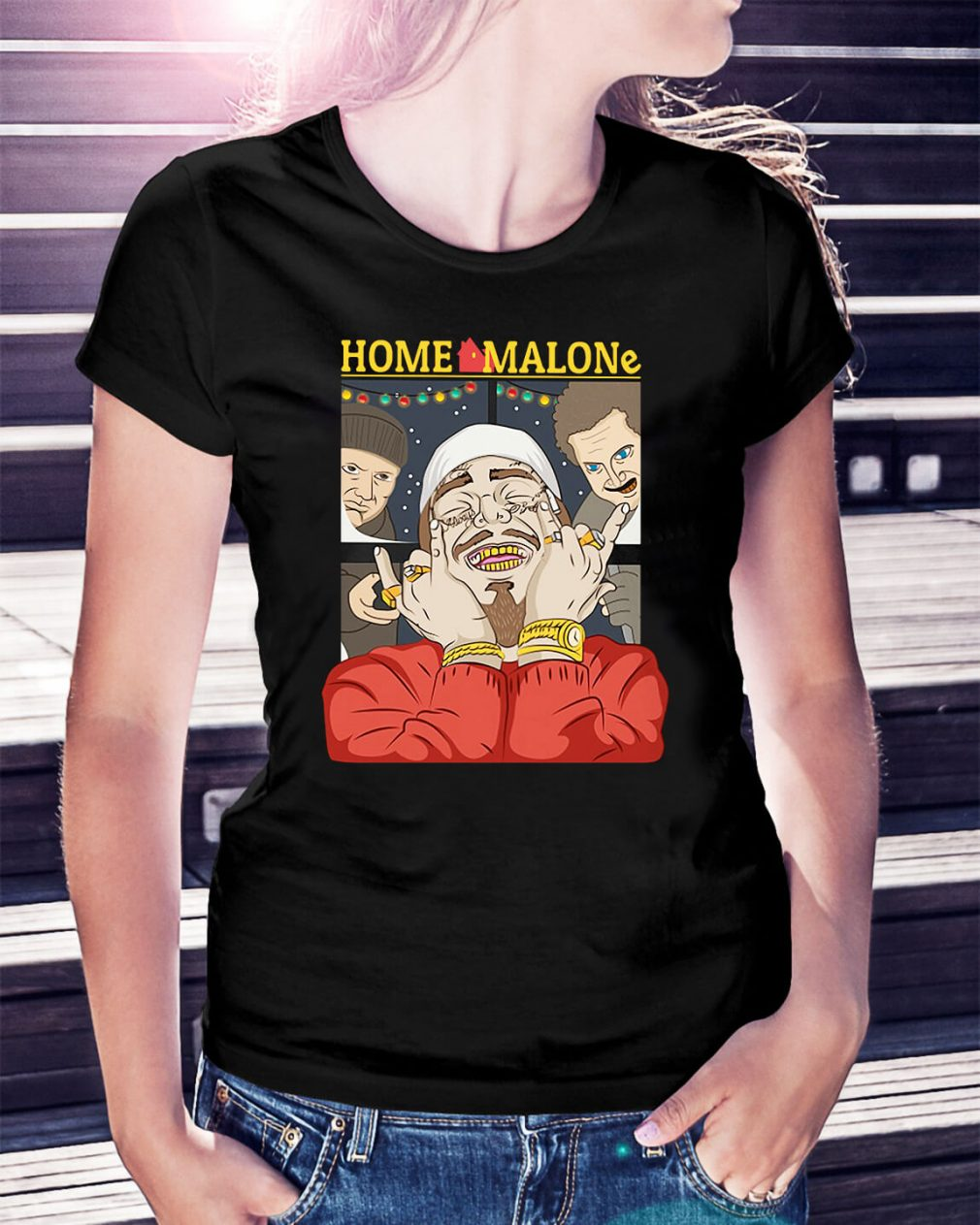 Home Alone and Post Malone Mashup Christmas Ladies Tee