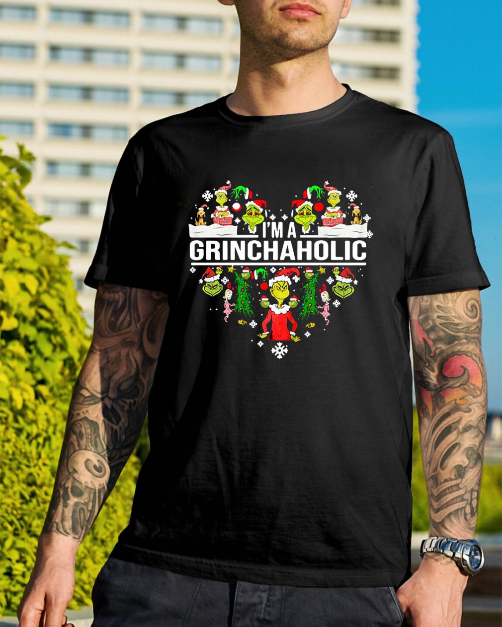 I'm a Grinch aholic Christmas Guys Shirt