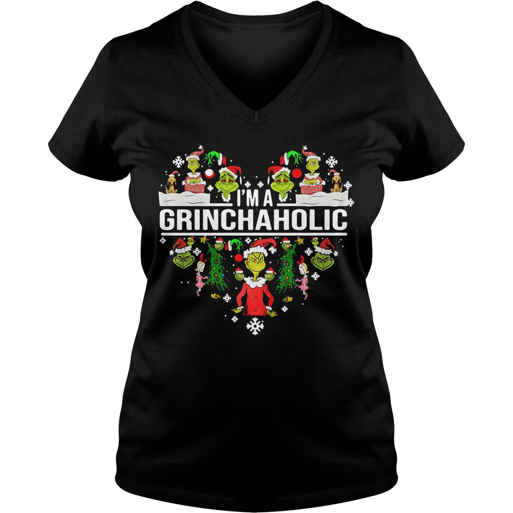 I'm a Grinch aholic Christmas V-neck T-shirt