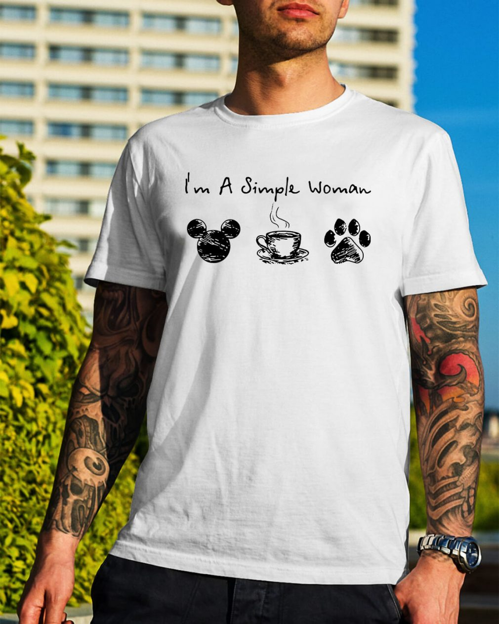 I'm a simple I like Mickey coffee and paw dog shirt