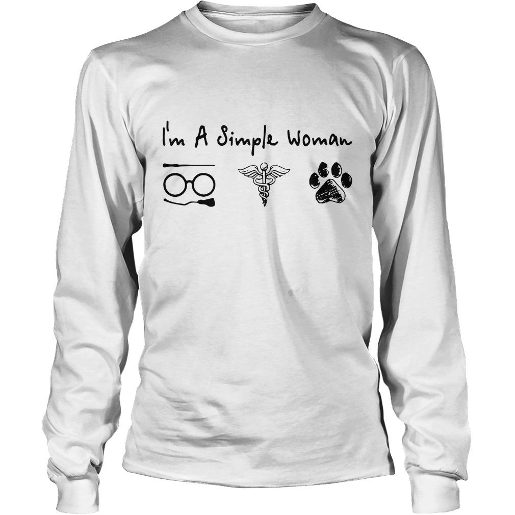 I'm a simple woman I like Harry Potter Medical Symbol and paw dog Longsleeve Tee