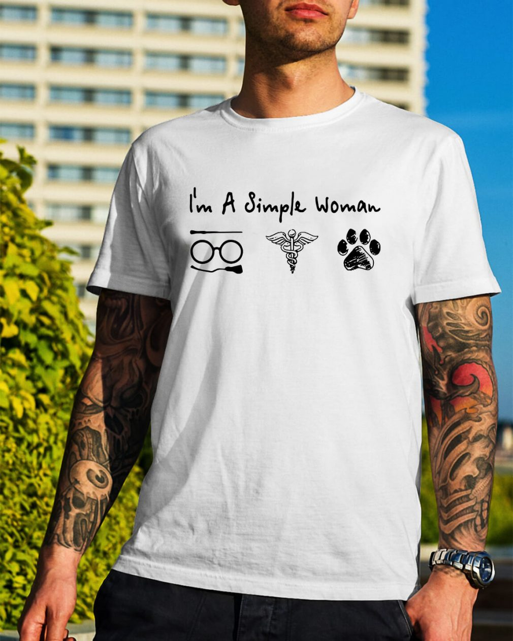 I'm a simple woman I like Harry Potter Medical Symbol and paw dog shirt