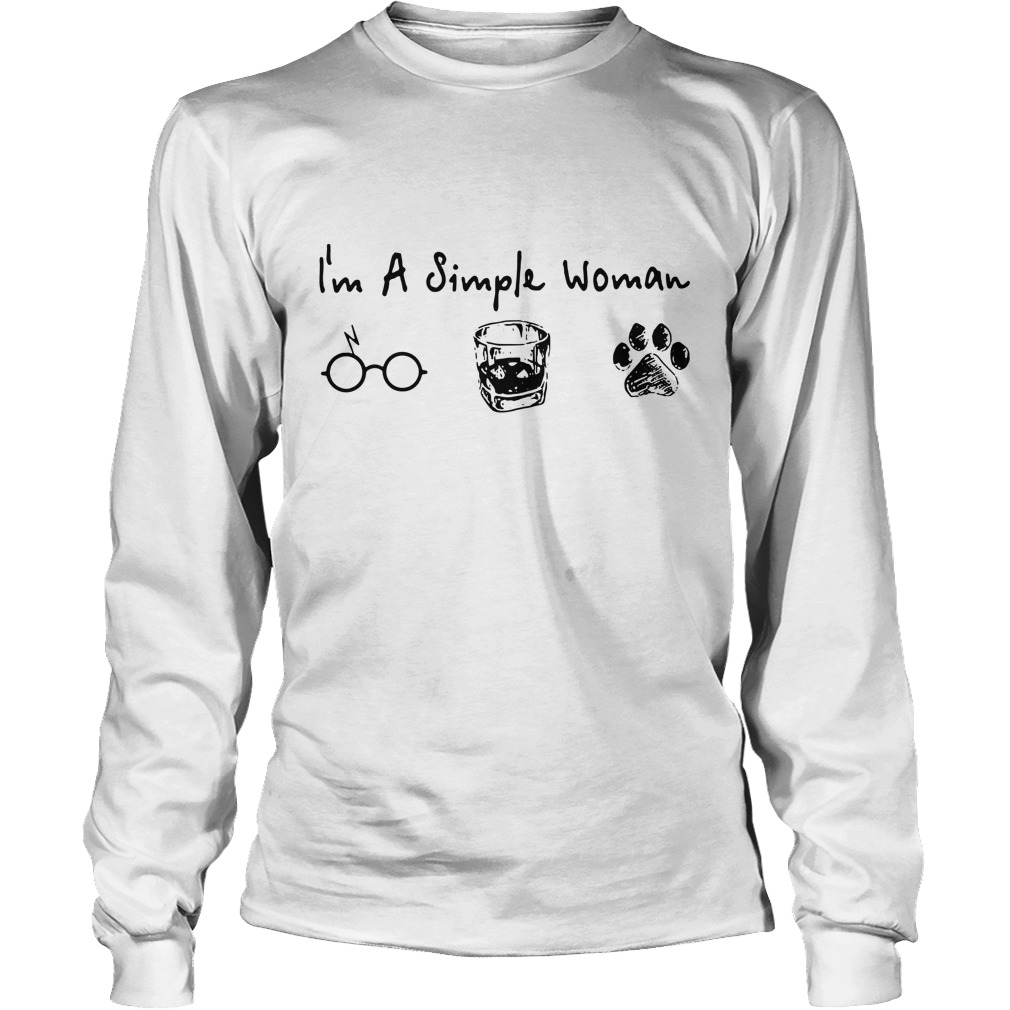 I'm a simple woman I like Harry Potter Whiskey and paw dog Longsleeve Tee