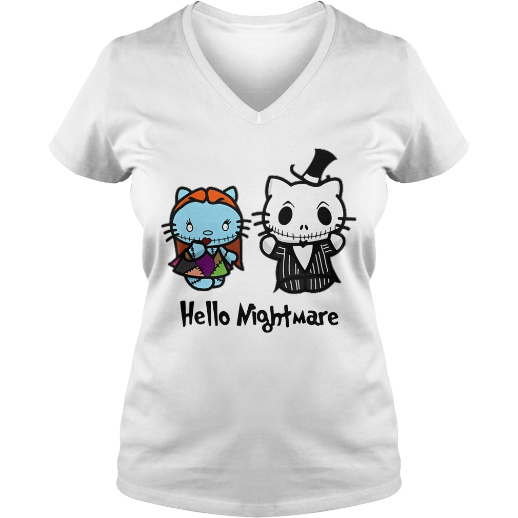 Jack and Sally hello kitty hello nightmare V-neck T-shirt