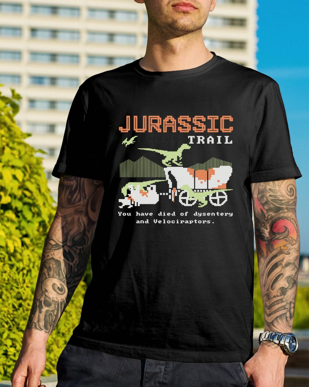 Jurassic trail you have died of dysentery and velociraptors Guys Shirt