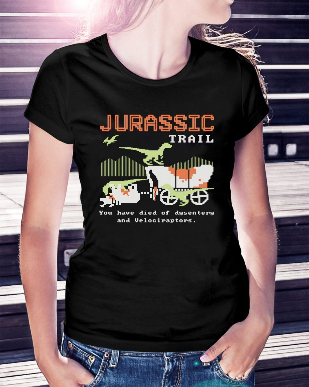 Jurassic trail you have died of dysentery and velociraptors Ladies Tee