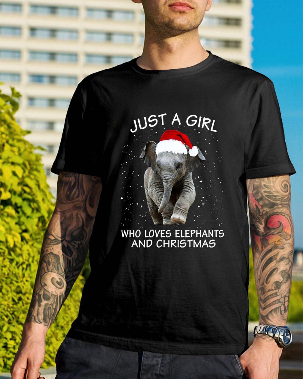 Just a girl who loves elephants and Christmas Guys Shirt