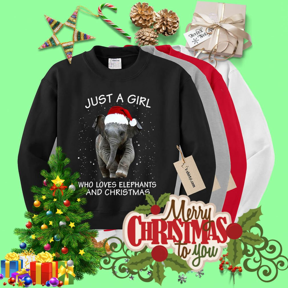 Just a girl who loves elephants and Christmas shirt, sweater