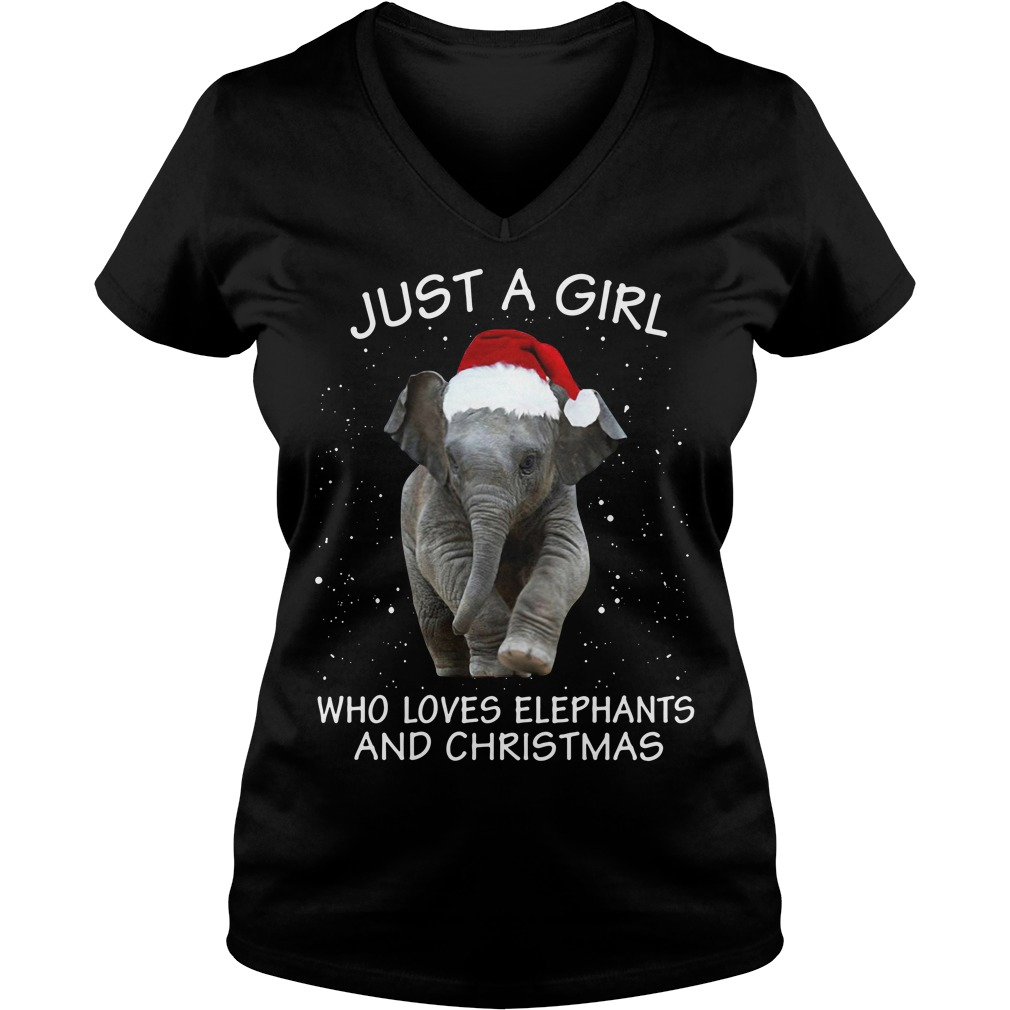 Just a girl who loves elephants and Christmas V-neck T-shirt