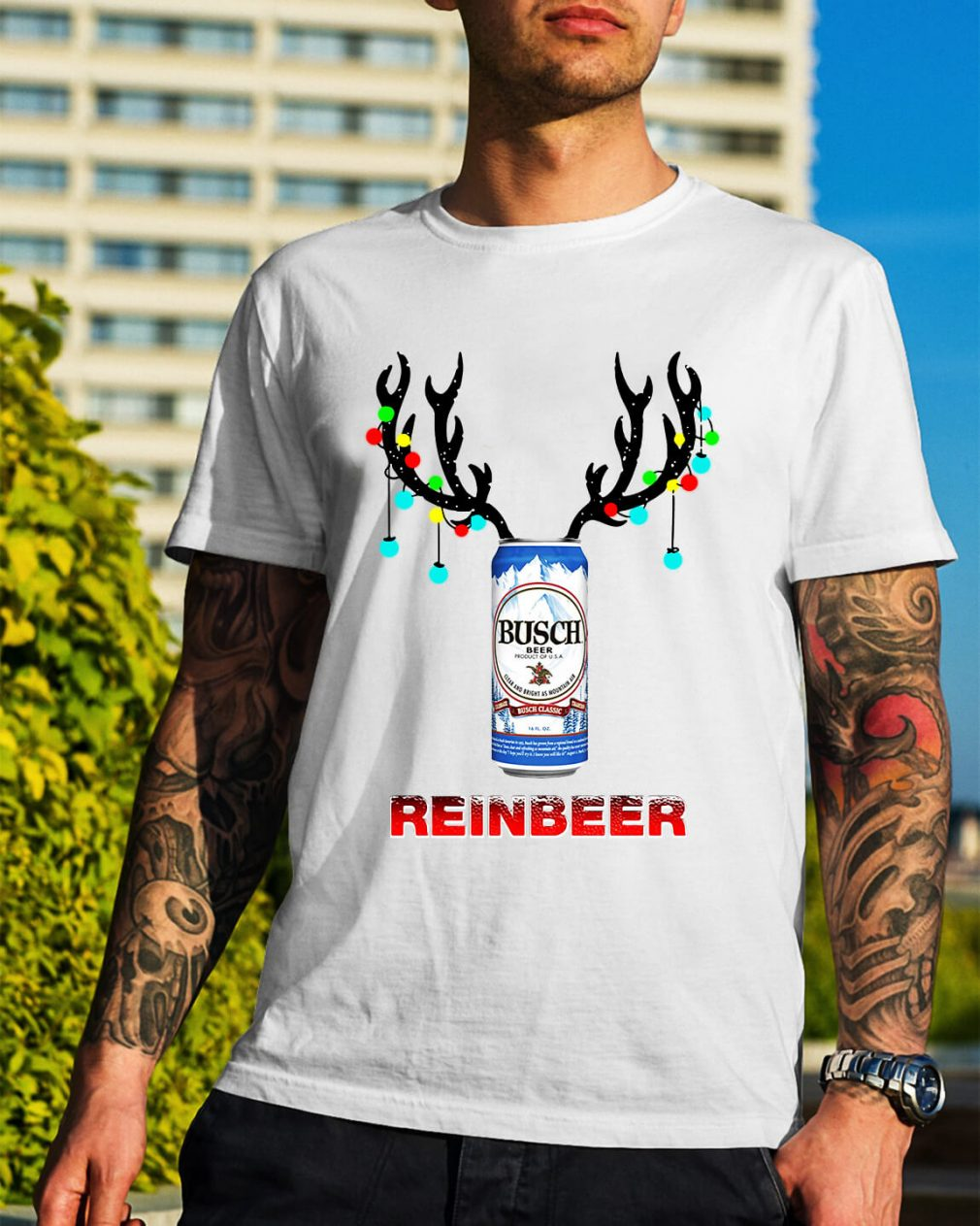 Light Christmas Busch Light reinbeer Guys Shirt