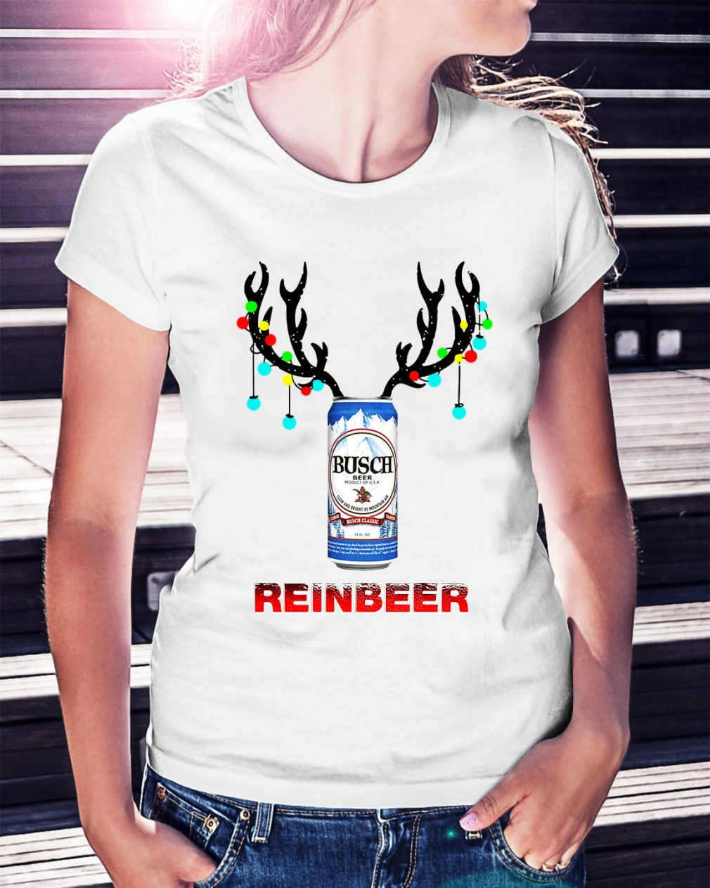 Light Christmas Busch Light reinbeer Ladies Tee