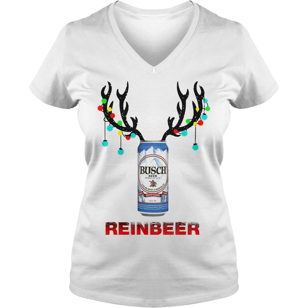 Light Christmas Busch Light reinbeer V-neck T-shirt
