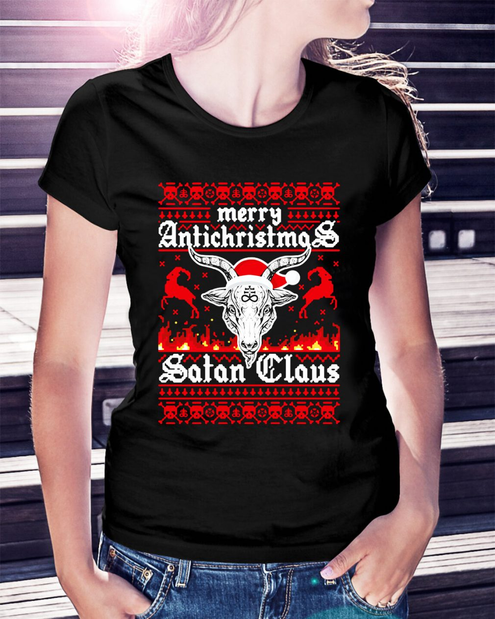 Merry Antichristmas Satan Claus Ladies Tee