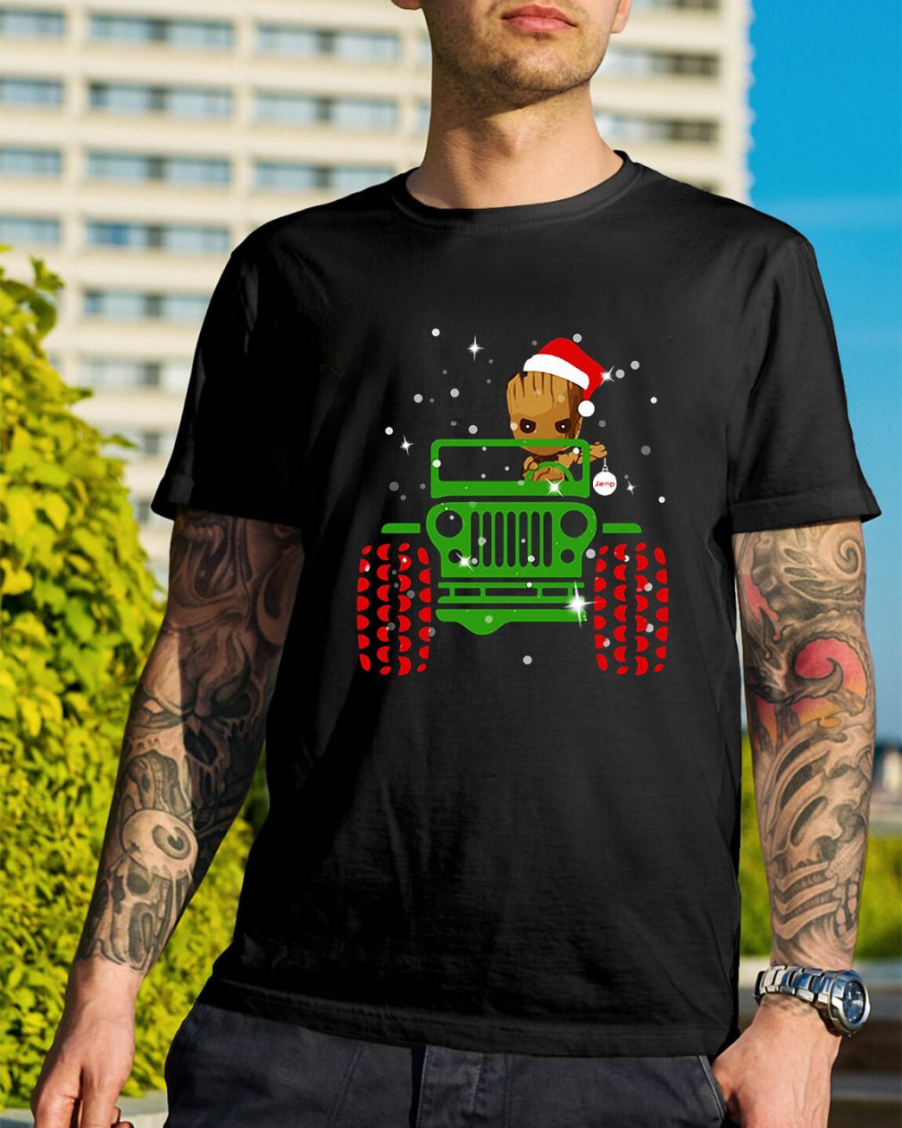 Merry Christmas Baby Groot driving jeep Guys Shirt