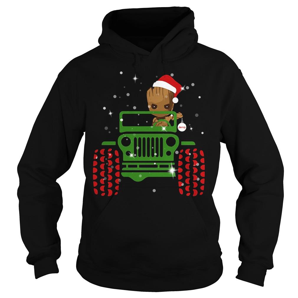 Merry Christmas Baby Groot driving jeep Hoodie