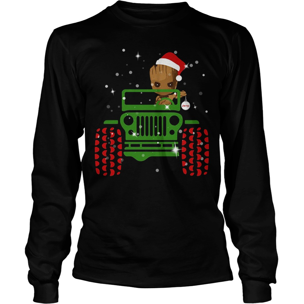 Merry Christmas Baby Groot driving jeep Longsleeve Tee