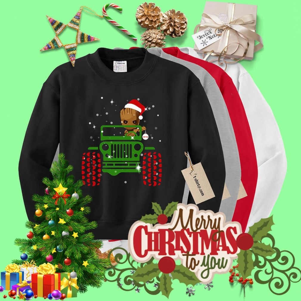 Merry Christmas Baby Groot driving jeep shirt, sweater