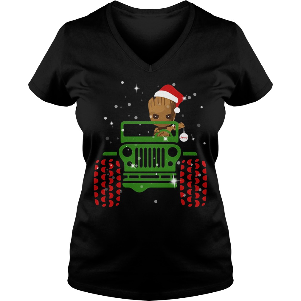 Merry Christmas Baby Groot driving jeep V-neck T-shirt