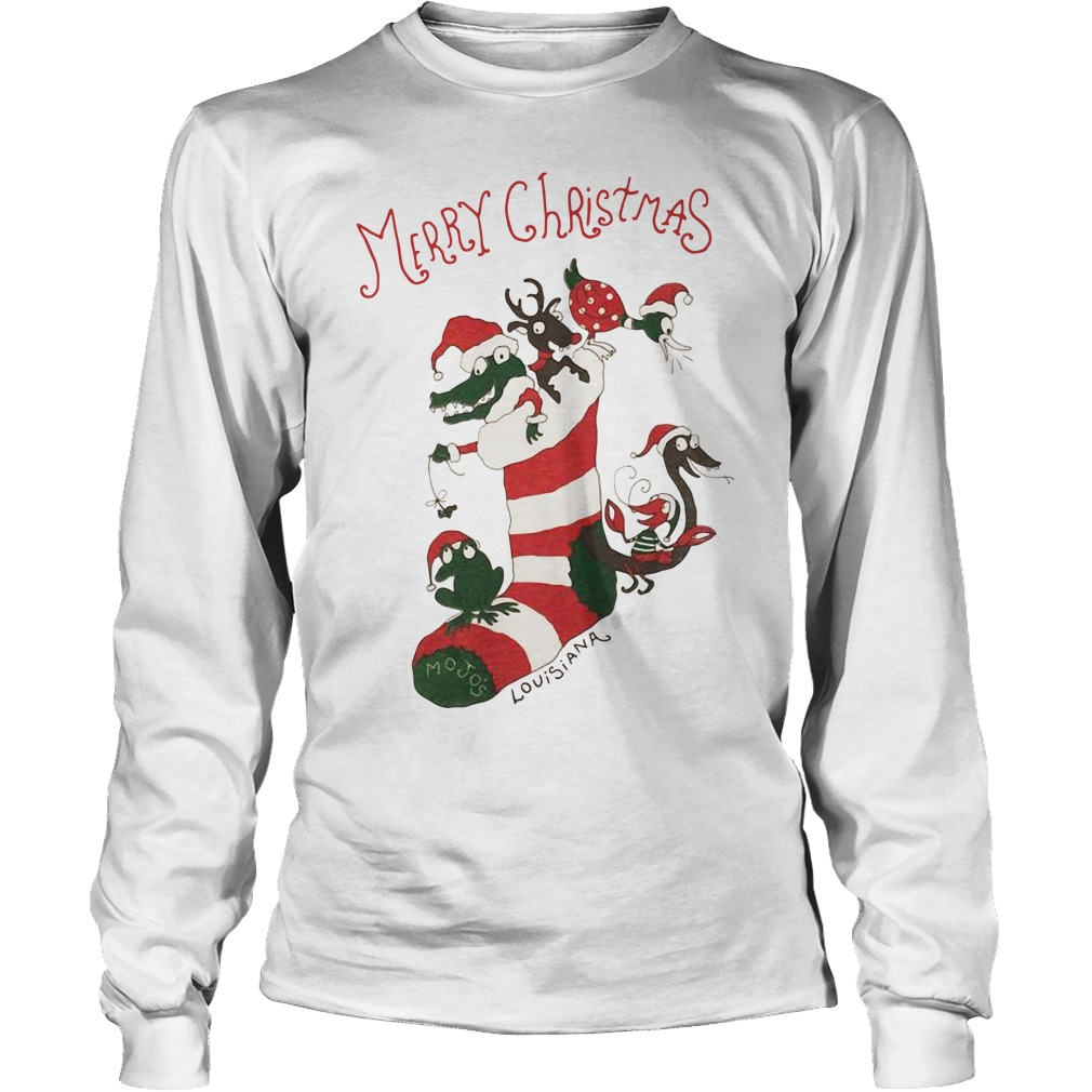 Merry Christmas Mojos socks and animal Santa hat Longsleeve Tee